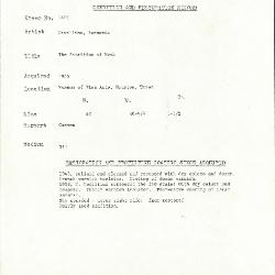 Image for K1401 - Condition and restoration record, circa 1950s-1960s