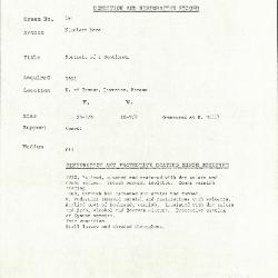 Image for K0141 - Condition and restoration record, circa 1950s-1960s