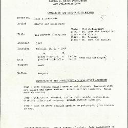 Image for K1424 - Condition and restoration record, circa 1950s-1960s