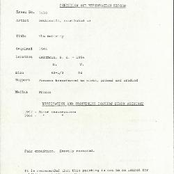Image for K1410 - Condition and restoration record, circa 1950s-1960s