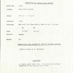 Image for K1534 - Condition and restoration record, circa 1950s-1960s