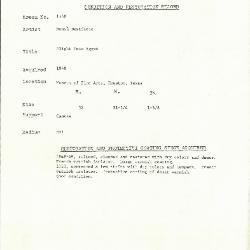 Image for K1540 - Condition and restoration record, circa 1950s-1960s