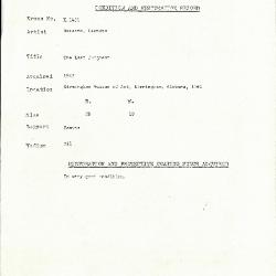 Image for K1431 - Condition and restoration record, circa 1950s-1960s