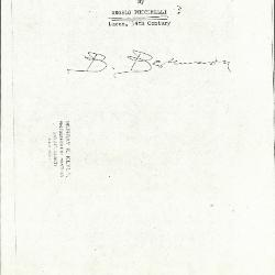 Image for K0153 - Expert opinion by Berenson, circa 1920s-1950s