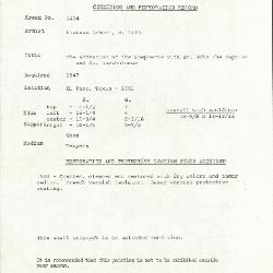 Image for K1434 - Condition and restoration record, circa 1950s-1960s