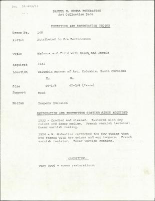 Image for K0148 - Condition and restoration record, circa 1950s-1960s