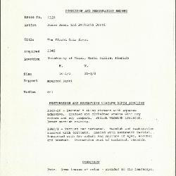 Image for K1529 - Condition and restoration record, circa 1950s-1960s