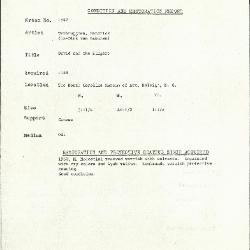 Image for K1542 - Condition and restoration record, circa 1950s-1960s