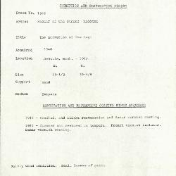 Image for K1546 - Condition and restoration record, circa 1950s-1960s