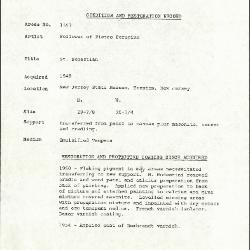 Image for K1557 - Condition and restoration record, circa 1950s-1960s