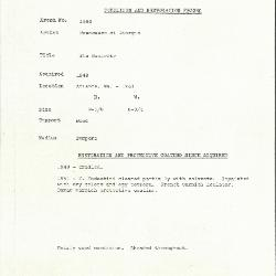 Image for K1564 - Condition and restoration record, circa 1950s-1960s