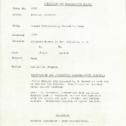 Image for K1553 - Condition and restoration record, circa 1950s-1960s