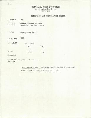 Image for K0155 - Condition and restoration record, circa 1950s-1960s