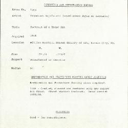 Image for K1565 - Condition and restoration record, circa 1950s-1960s