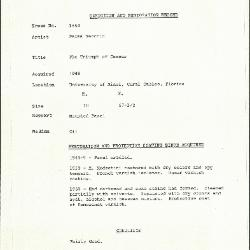 Image for K1554 - Condition and restoration record, circa 1950s-1960s