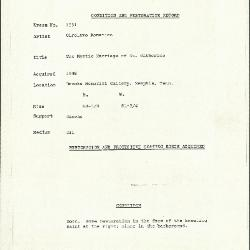 Image for K1551 - Condition and restoration record, circa 1950s-1960s