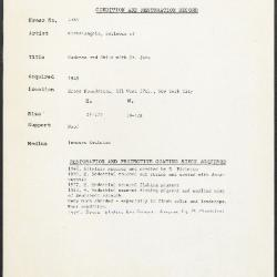 Image for K1569 - Condition and restoration record, circa 1950s-1960s