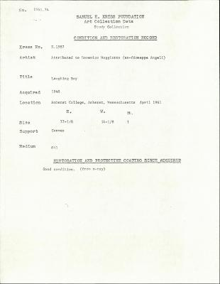 Image for K1587 - Condition and restoration record, circa 1950s-1960s