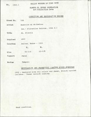 Image for K0158 - Condition and restoration record, circa 1950s-1960s