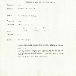 Image for K1594 - Condition and restoration record, circa 1950s-1960s