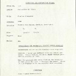 Image for K1591 - Condition and restoration record, circa 1950s-1960s
