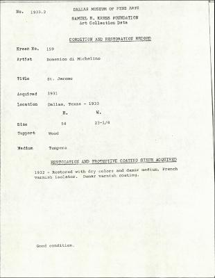 Image for K0159 - Condition and restoration record, circa 1950s-1960s