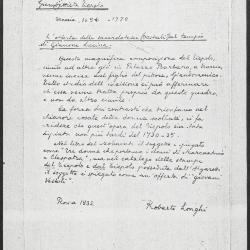 Image for K0161 - Expert opinion by Longhi, 1932