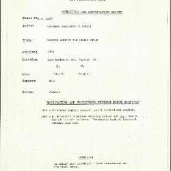 Image for K1580 - Condition and restoration record, circa 1950s-1960s