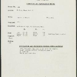 Image for K1581 - Condition and restoration record, circa 1950s-1960s
