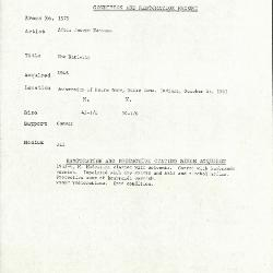 Image for K1578 - Condition and restoration record, circa 1950s-1960s