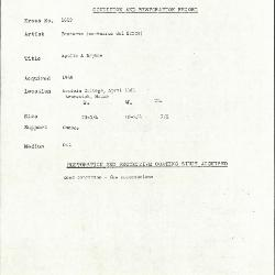 Image for K1619 - Condition and restoration record, circa 1950s-1960s