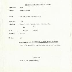Image for K1629 - Condition and restoration record, circa 1950s-1960s