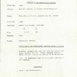 Image for K1626 - Condition and restoration record, circa 1950s-1960s