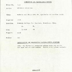 Image for K1627 - Condition and restoration record, circa 1950s-1960s