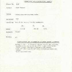Image for K1632 - Condition and restoration record, circa 1950s-1960s