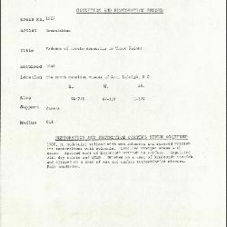 Image for K1623 - Condition and restoration record, circa 1950s-1960s
