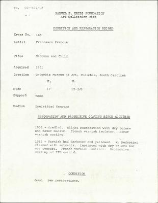 Image for K0165 - Condition and restoration record, circa 1950s-1960s