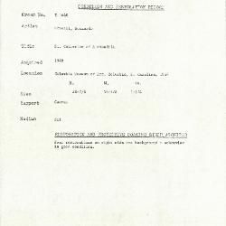 Image for K1640 - Condition and restoration record, circa 1950s-1960s