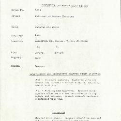 Image for K1653 - Condition and restoration record, circa 1950s-1960s