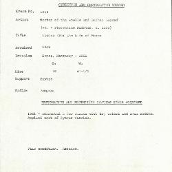 Image for K1616 - Condition and restoration record, circa 1950s-1960s