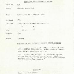 Image for K0162 - Condition and restoration record, circa 1950s-1960s