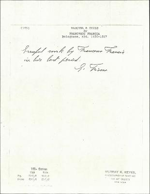 Image for K0165 - Expert opinion by Fiocco, circa 1930s-1940s