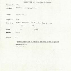 Image for K1618 - Condition and restoration record, circa 1950s-1960s