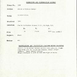 Image for K1688 - Condition and restoration record, circa 1950s-1960s