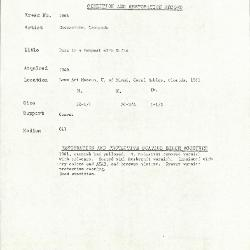 Image for K1666 - Condition and restoration record, circa 1950s-1960s