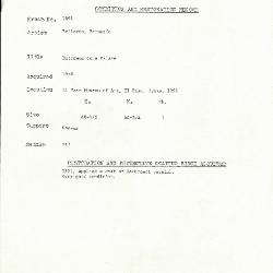 Image for K1692 - Condition and restoration record, circa 1950s-1960s