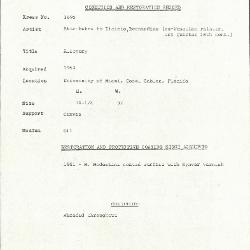Image for K1695 - Condition and restoration record, circa 1950s-1960s