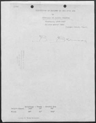 Image for K0170 - Expert opinion by Berenson, circa 1920s-1950s
