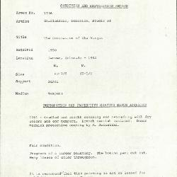 Image for K1726 - Condition and restoration record, circa 1950s-1960s
