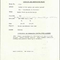 Image for K1721A - Condition and restoration record, circa 1950s-1960s